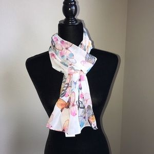 Roby Foulards Polyester Scarf with Butterflies